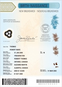 New Brunswick Birth Certificate Authentication