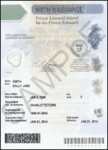 PEI Birth Certificate Authentication