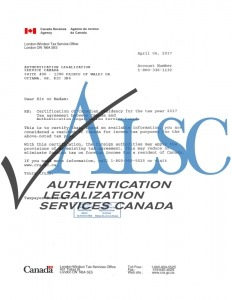 Authentication Legalization Service Tax Residency Letter