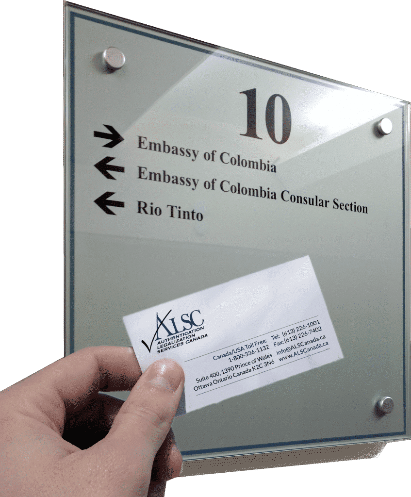 Colombia Canadian document apostille authentication legalization